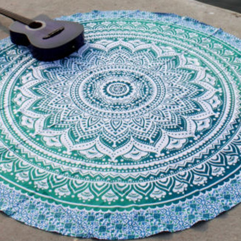 Mandala Ombre Round Indian Hippy Tapestry Dorm Decor Cotton Picnic Round Sheet Wall Hanging Boho Bohemian Beach Blanket Yoga Mat Gypsy Throw
