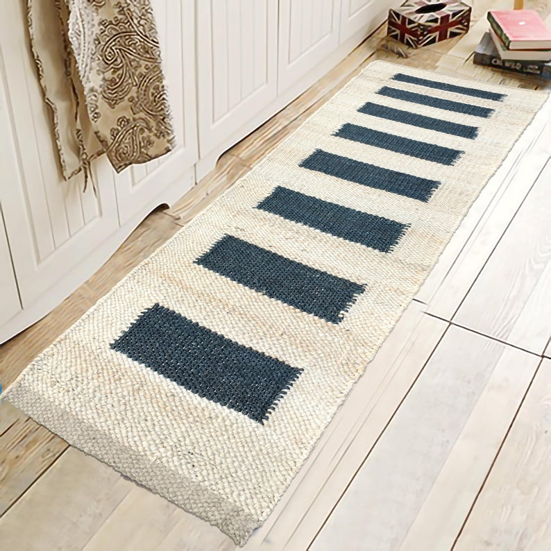 Hand loom Hemp Jute Runner Rug Handmade Jute Kilim Rug Yoga mat throw carpet  hand loomed Decorative Rug Doormat Bed side Runner 2×6-20