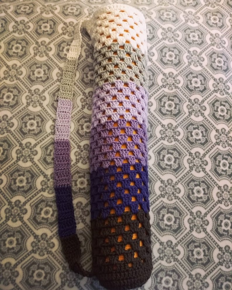 Crochet Purple and Grey Spectrum Yoga Mat Bag