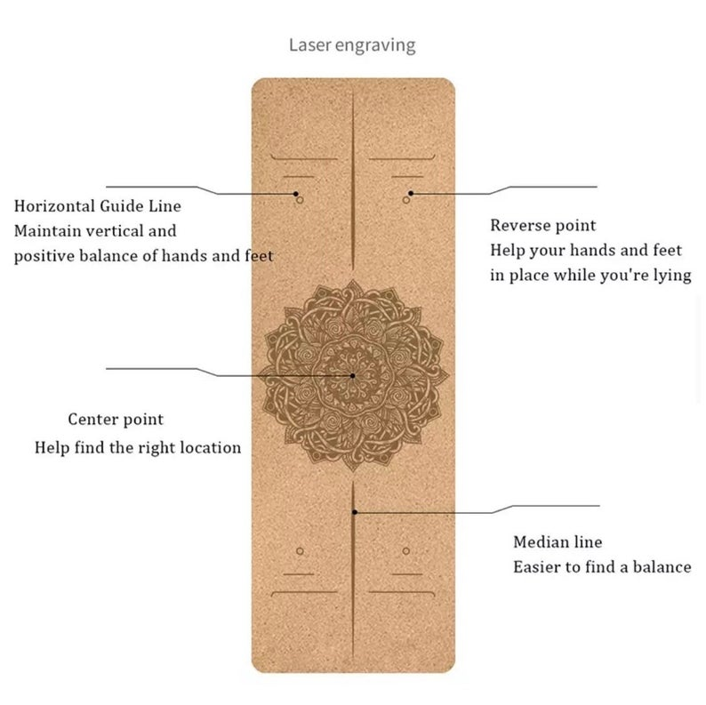 Natural Cork mandala TPE Yoga Mat For Fitness 183+61 Sport Mats Pilates Exercise Non-slip Yoga mat With Position Body Line Training Mat