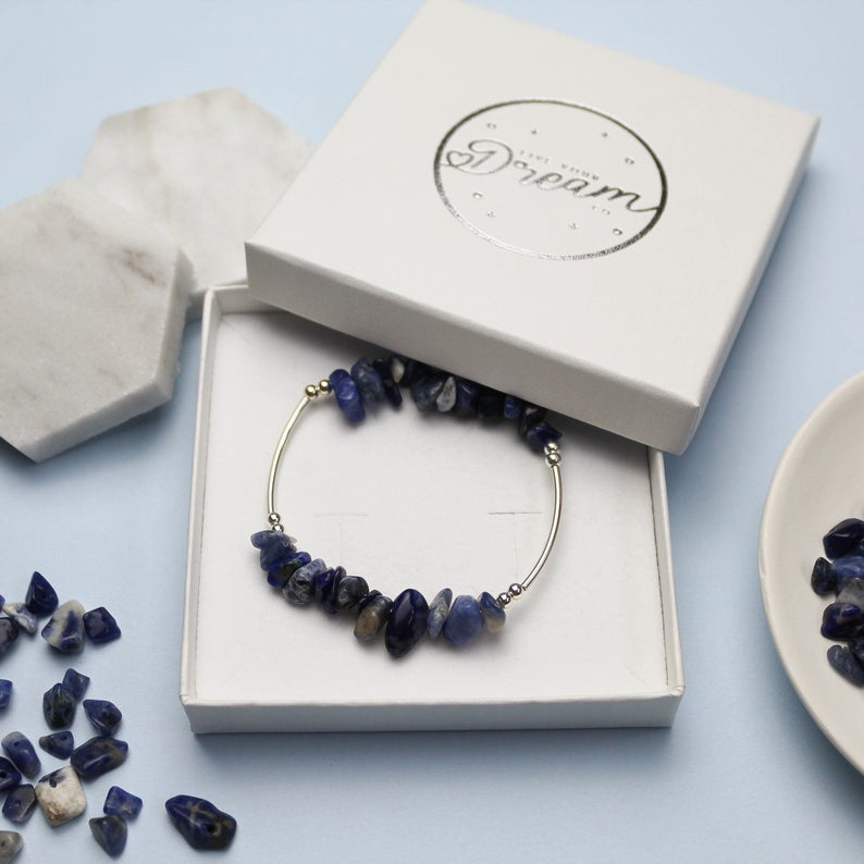Sodalite Crystal Bracelet | Sterling Silver Bracelet | Crystal Healing Jewellery | Throat Chakra Healing | Emotional Balance | Blue Crystal