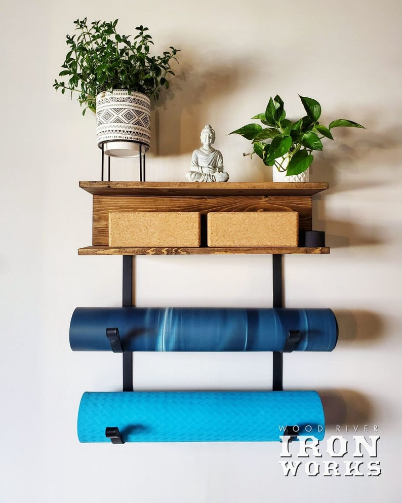 Yoga Mat Rack 2 Shelves with 2 Mat Racks, Yoga Decor, Gym Mat Rack, Gym Storage, Fitness