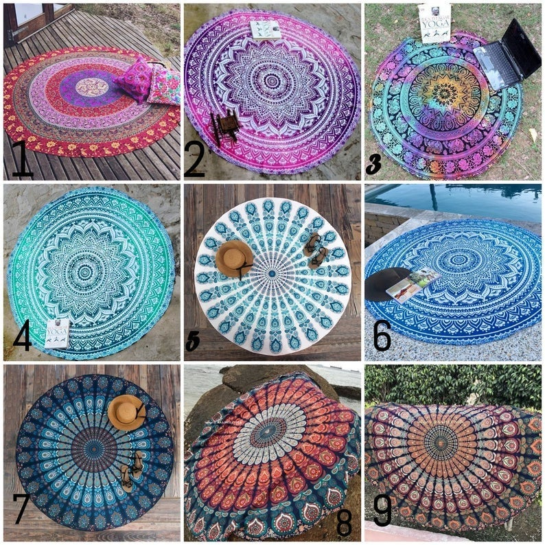 56″ Inches Ombre Mandala Round Roundie Beach Blanket Beach Hippie Bohemian Tapestry Picnic Yoga Mat Beach Tapestry Table Cloth Room Decor
