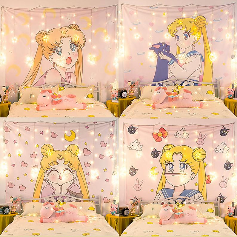 Sailor Moon Tapestry, Anime Tapestry Fabric, Poster Wall Art,Pink Background,Girlish Style Tapestry,Wall Hanging For Home Bedroom Decor