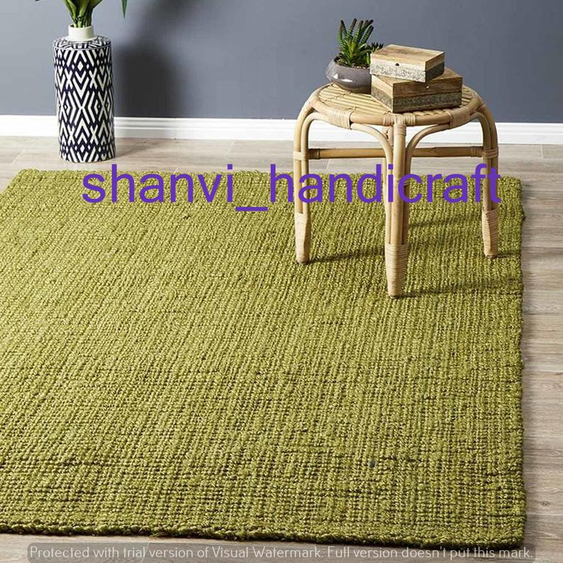 Hand Woven Indian Braided Jute Rug Rag Green Color Floor Decor Rugs Natural Jute area Rugs for Home Decor Rugs Beautiful Decorative Rag Rugs