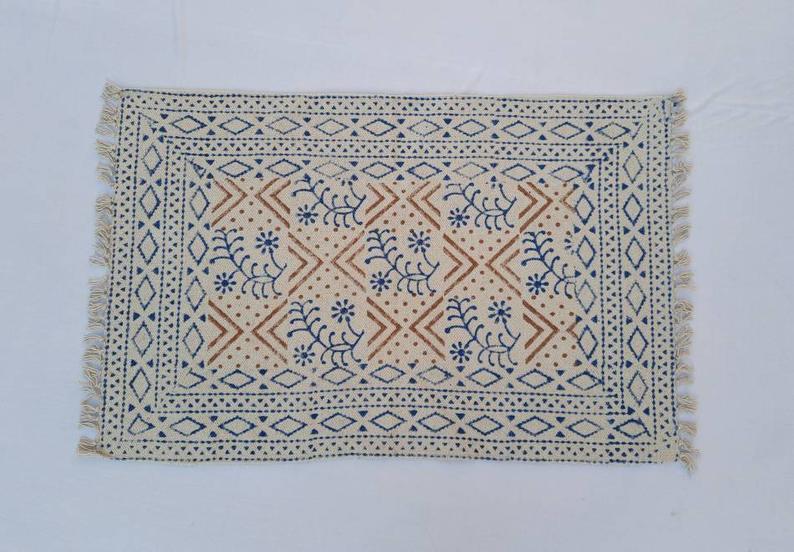 2'X3′ Cotton Indigo & White Handblock Printed – 100% Cotton Handmade  Print Small Rug 60*90 cm