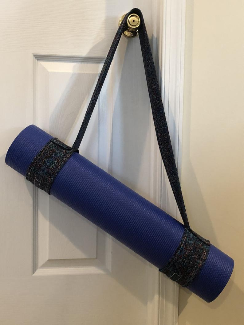 Yoga Mat Strap – Black/Navy and Rainbow