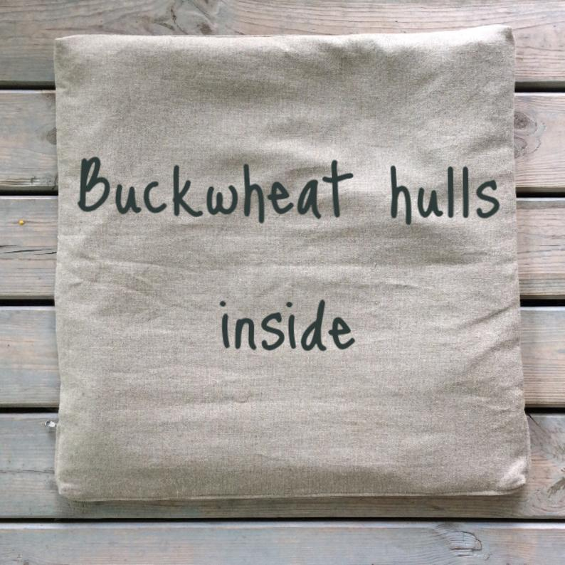 24×24″ Buckwheat Zabuton meditation cushion Bench cushion Linen Yoga meditatation mat Eco friendly floor mat Gift for yogis