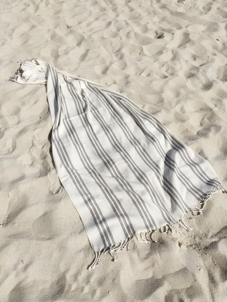 Black Striped Peshtemal | 100% Cotton Turkish Towel | STREAM Off-White | Beach Cover Up|Minimalist Bath Towel | Handwoven Travel Blanket