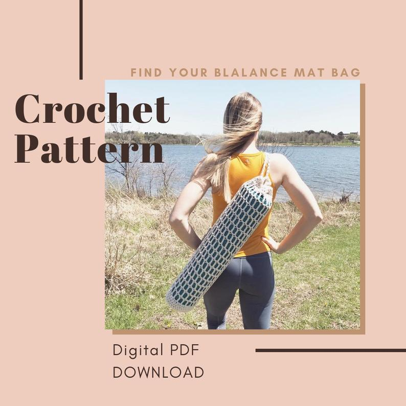 "Crochet Pattern // ""Find Your Balance Mat Bag"" // yoga bag, crochet yoga bag, Cozymoondesigns, yoga mat carrier"