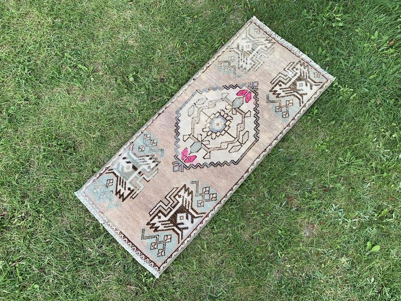 "Small Rug, Oushak Small Rug, Vintage Small Rug, Bohemian Small Rug, Yoga Mat, Bedroom Rug, Decorative Small Rug, Area Small Rug,1'3""x3'2"" ft"