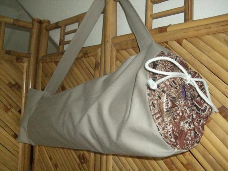 Yoga Bag Khaki Denim Repurposed Cotton YB09