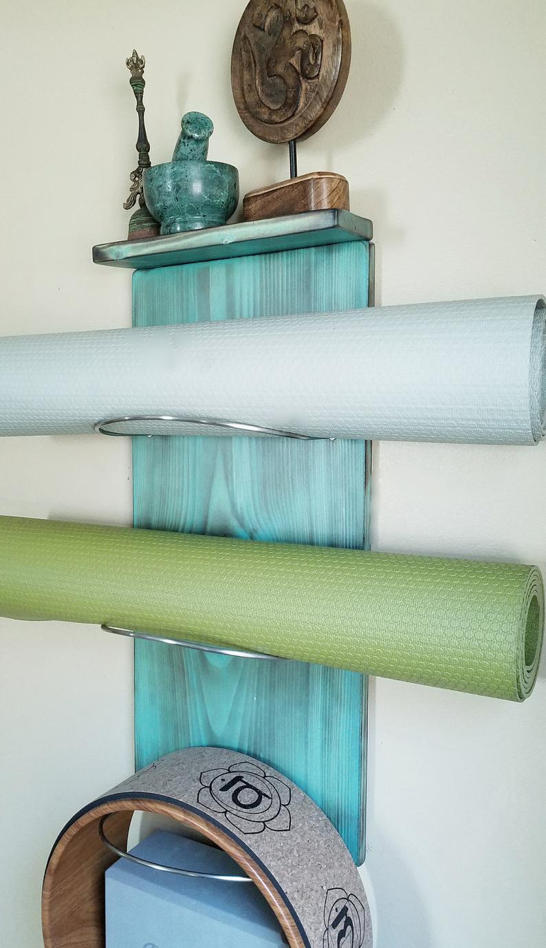 1 thru 8 tiered Yoga Mat Holder w/ a Top Shelf