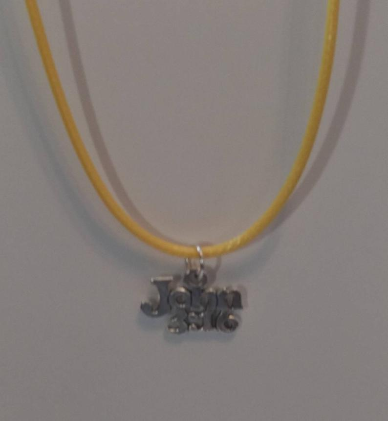 John 3:16 Charm Necklace Yellow Leather Wax Rope Necklace Tibetan Silver Bible Verse Charm