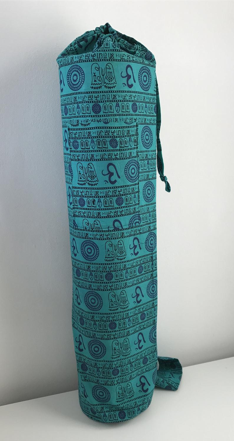 Unisex yoga mat bag made with Nepalese fabric