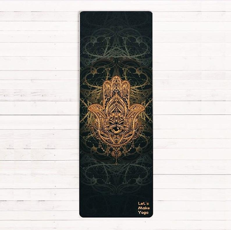 Custom yoga mat Hamsa hand perfect gift for yoga lover