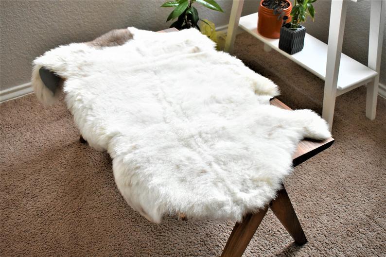 Virus Resistant Sheepskin Rug, Ethically Sourced Genuine Handmade,White Beige