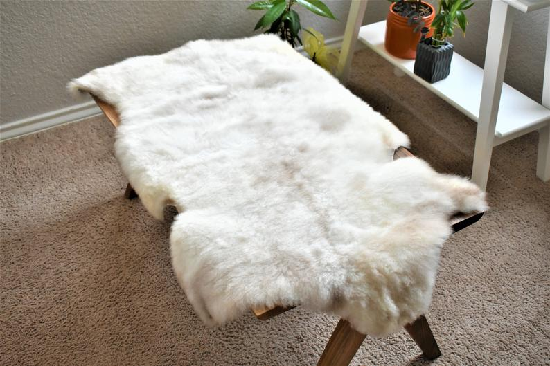 Ethically Sourced Sheepskin Rug, Natural Soft Beige Wool