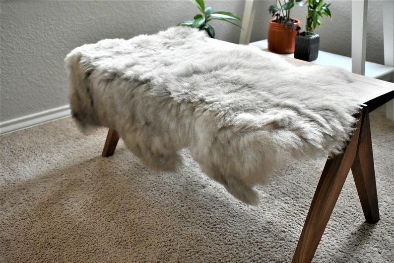 Natural Sheepskin Pelt, Ethically Sourced, Gray Wool