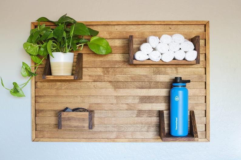 Exercise bike shelf – stationary bike shoe holder – home gym wall shelf – towel and water bottle shelf