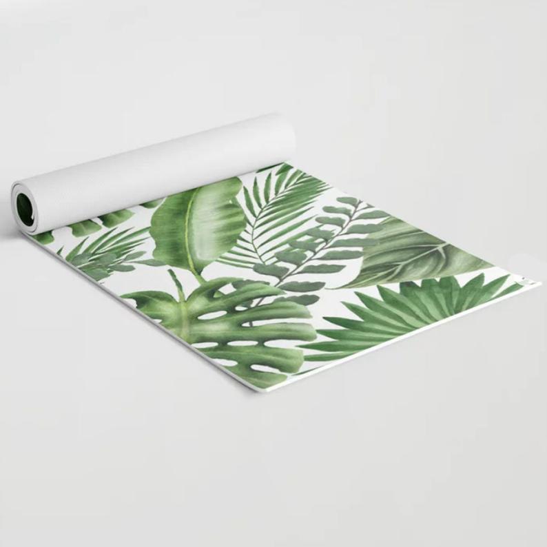 Tropical leaves, Custom Name, Monogram on Yoga mat, Personalized Yoga Mat, Sport, Girl, Exercise Mat, Pilates, Gift for Girl, Green, Gym