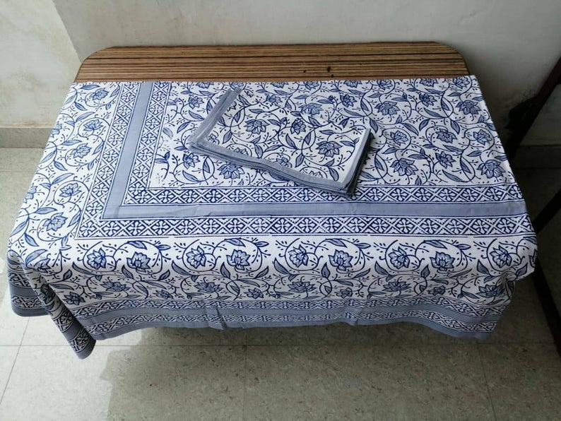 Indian Hand Wooden Block Printed Floral Design Made Home Decorated 100%Cotton Dining Table Cloth with Matching Napkin Table Cover,TableThrow