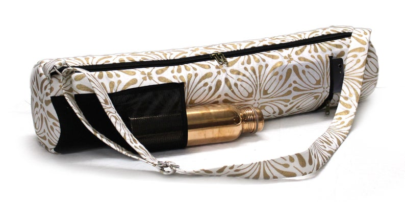 Indian Cotton Hand Block White Gold Pokit Yoga Mat Bag Carry Beach Bag Hippie Gym Mat Carrier Sports Bags With Adjustable Shoulder Strap