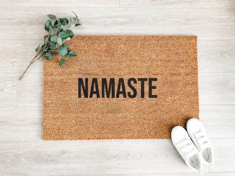 Namaste Doormat, Welcome Mat, Housewarming Gift, Cute Doormat,Outdoor Doormat,Funny Doormat,Funny Welcome Mat,Front Door Decor,Door mat