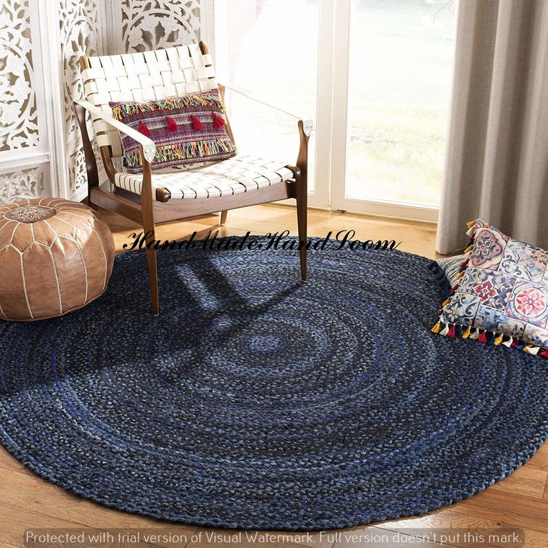 Indian Mat Carpet Cotton Home Decor Blue Color Braided Tapish Mediation Handmade Rag Rug Dhurrie Natural Cotton Bohemian Round Hand Rag Rugs