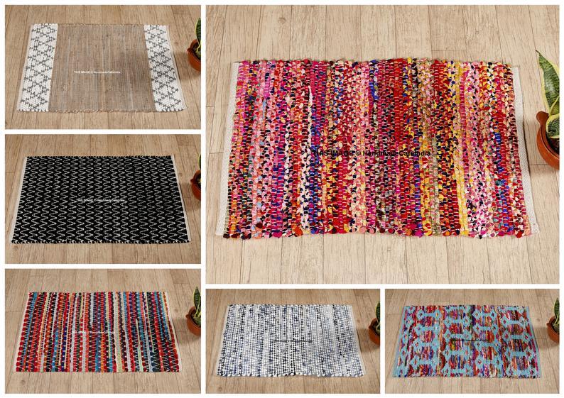 Indian Traditional Handmade Door Rug Yoga Mat Chindi Rug Floor Mat Area Rugs Meditation Mat Colorful Rug Rectangular Rug Floor Rugs