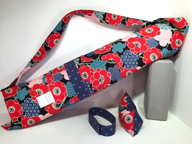 Deluxe Yoga Mat Bag with Pocket, Mat Strap & Lavender Eye Pillow, Flowers, yoga accessories, yoga mat bag, yoga gift for girls