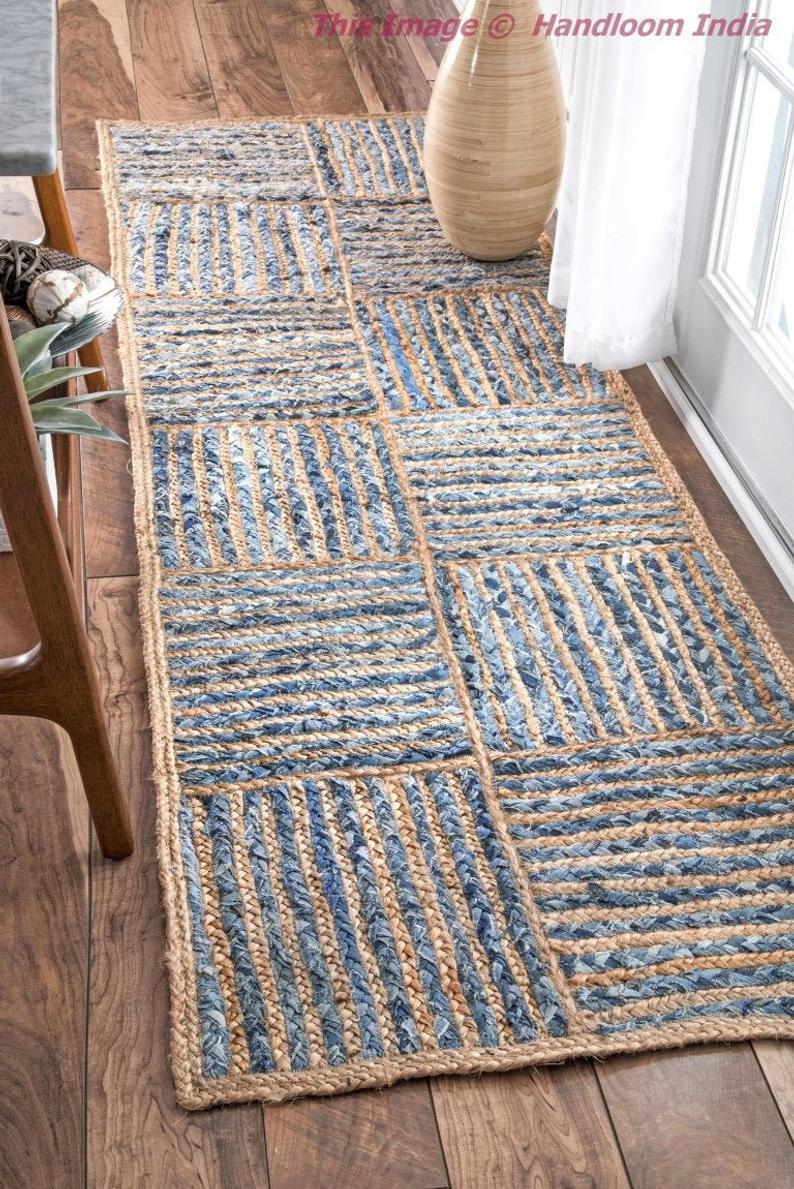 Antique Hand Woven Hallways Runner, Braided Meditation Mat, Denim Jute Braided Rug Runner, Living Room Area Carpet, Jute Picnic Rug