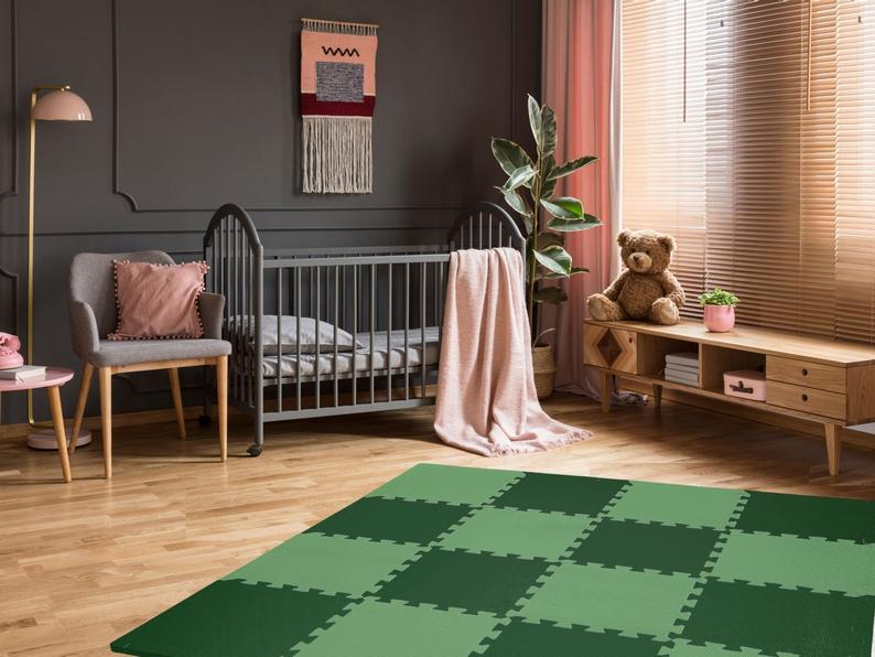 Safari Green & Paradise Green Foam Play Mats Bundle | Anti-Slip Baby-Safe Soft Floor Tiles For Play Room, Bedroom And Nursery Floor