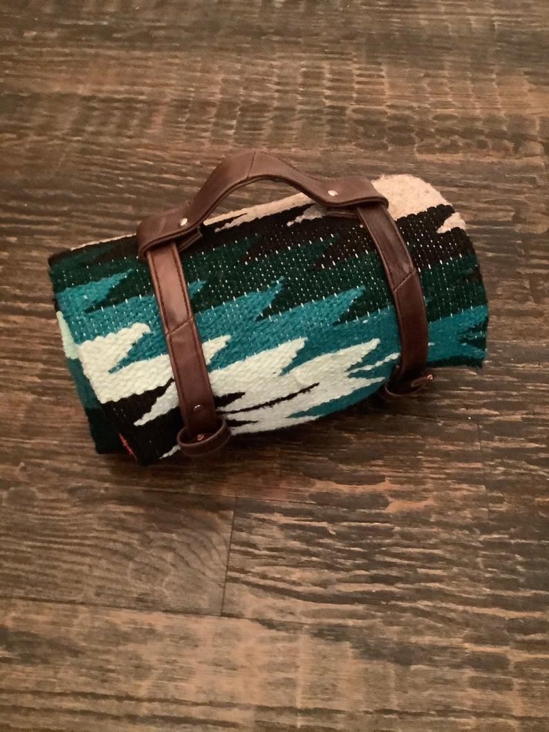 Brown leather blanket strap, Falsa Blanket, Cowboy Blanket, Yoga blanket, Beach Blanket, serape, blanket pack, sling, western