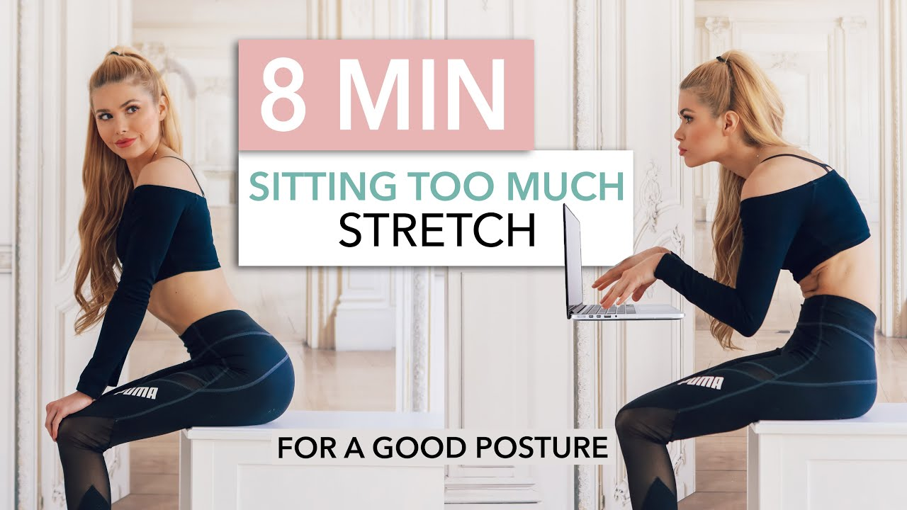 8 MIN SITTING TOO MUCH STRETCH – fix your posture, stand straight & reduce pain / Pamela Reif