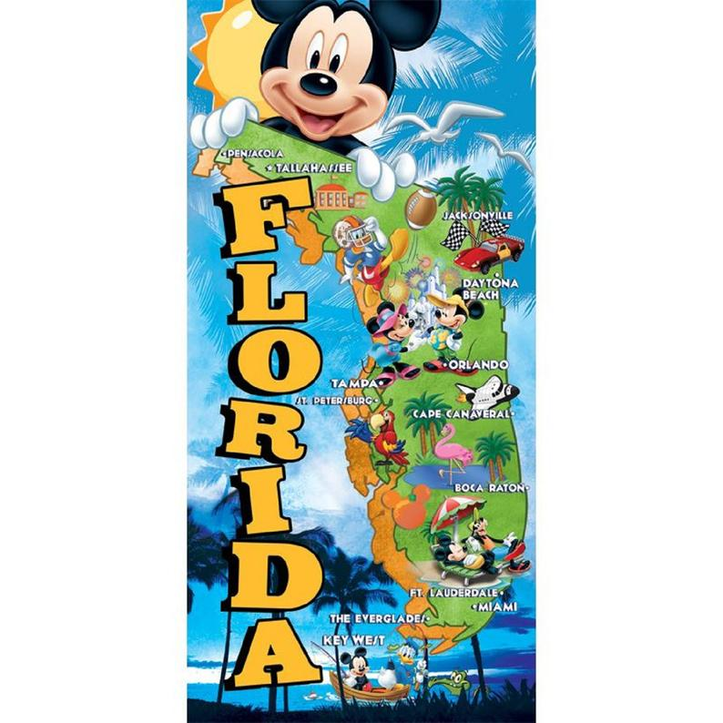 Disney Florida Map Beach Towel  Florida Namedrop – Beach towel,bath towel, Picnic mat, Bathrobe spa diving towel
