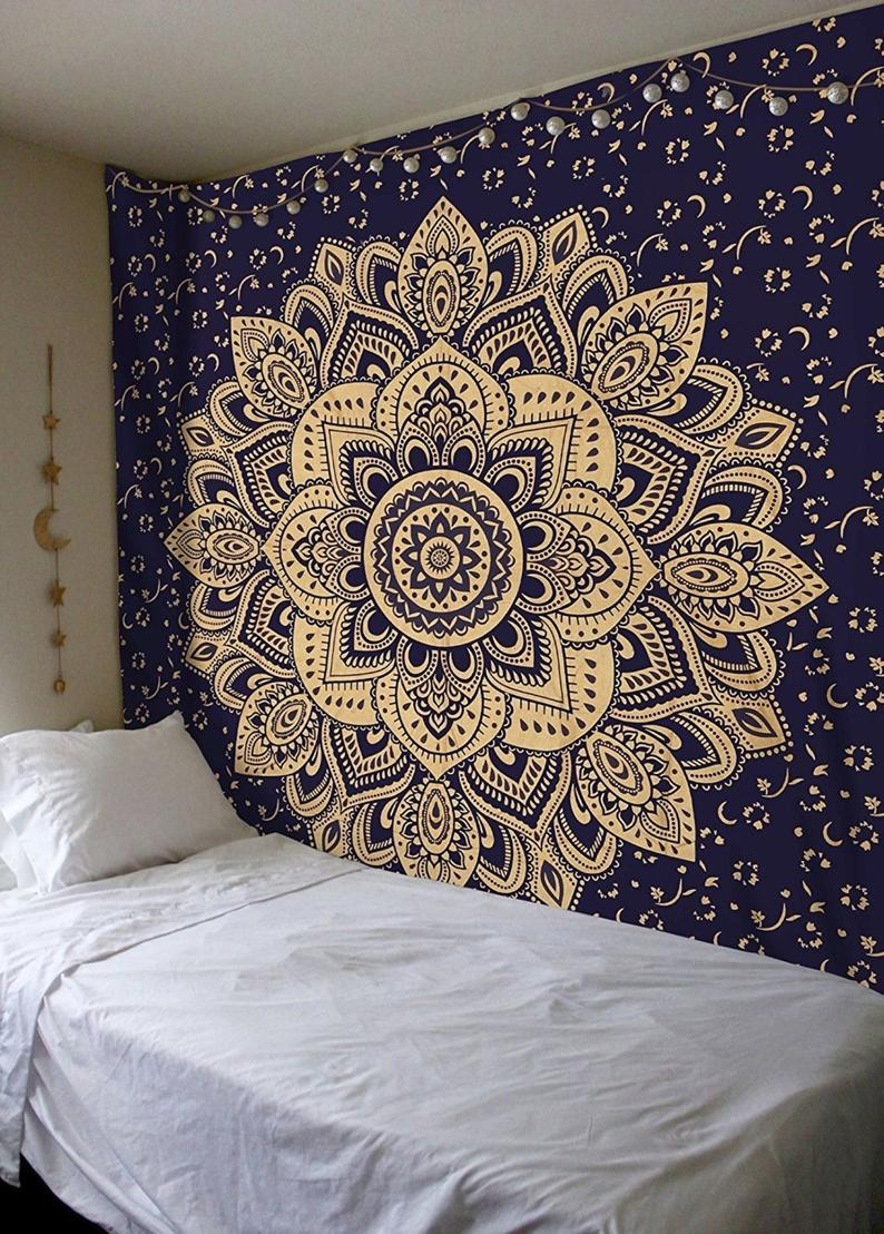 Wall Tapestry Blue Gold Tapestry Wall Hanging Mandala Tapestries Indian Cotton Bedspread Picnic Bed sheet Blanket Wall Art Hippie Tapestry