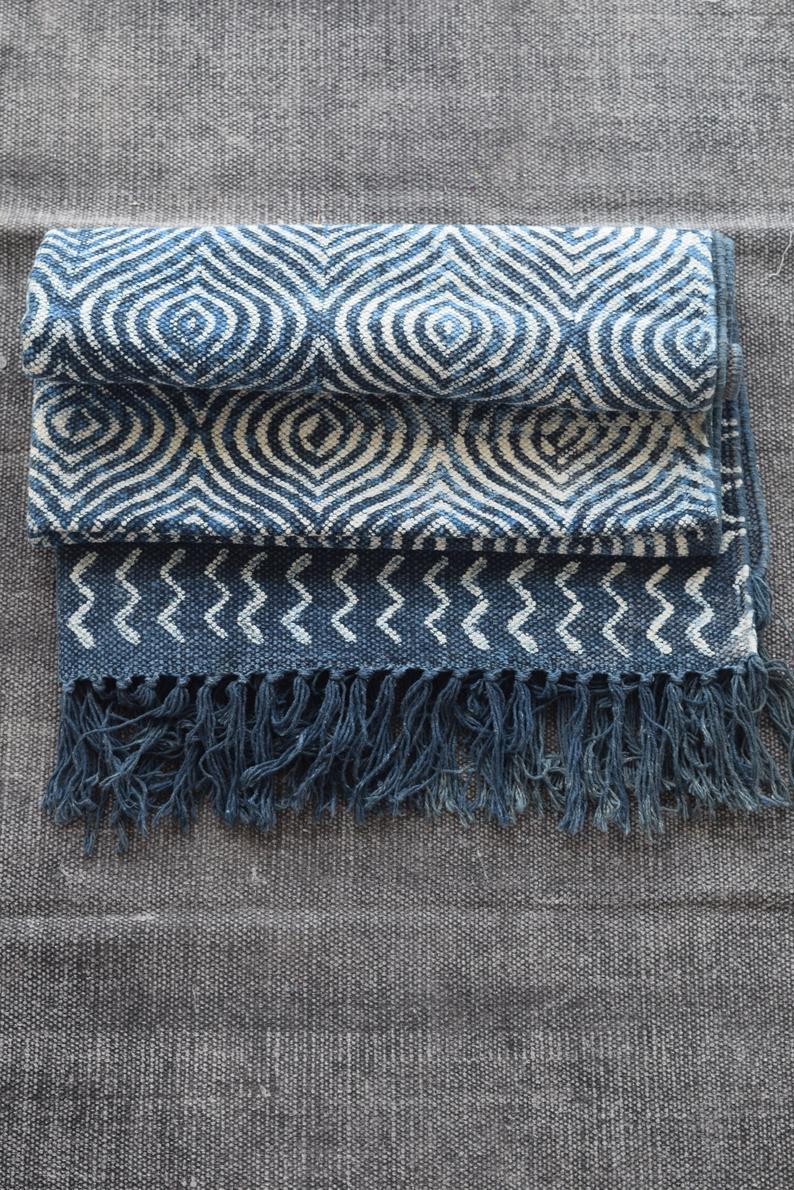 15% SALE, Rug, Indigo Processed Cotton Rug, Block Printing in India.