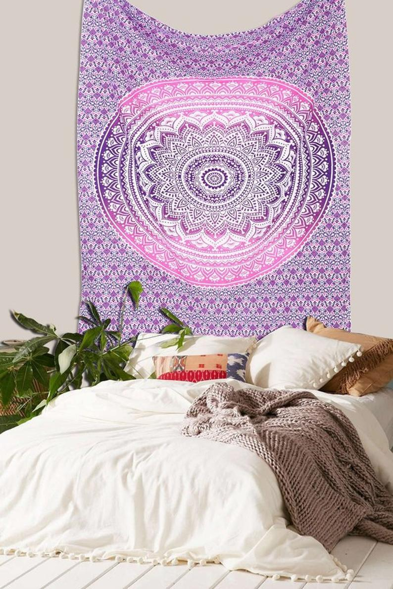 Violet Pink Ombre Multi tapestry Wall Hanging Mandala tapestries Indian Cotton Bedspread Picnic Bed sheet Blanket Wall Art Hippie tapestry