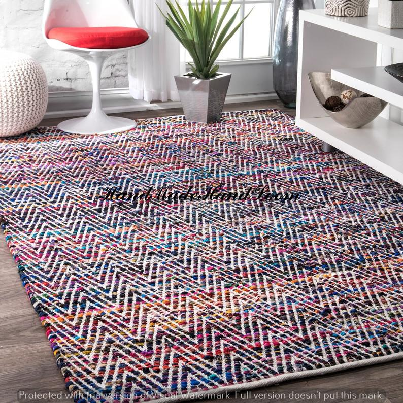 Home Decor Multi-Color Braided Cotton Area Rug Rugs Area Rugs Arts Floor Rectangle Bohemian Decor Natural Carpet Meditation Mat Mandala Rug