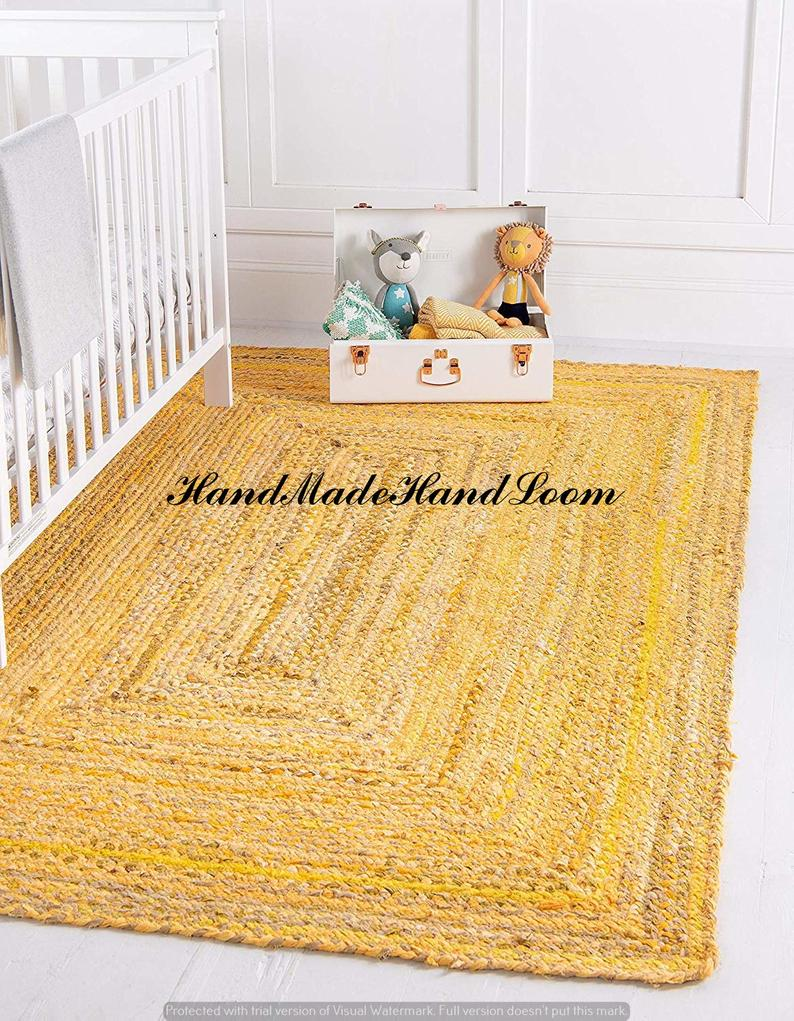 Home Decor Yellow Braided 100% Cotton Area Rug Rugs Area Rugs Arts Floor Rectangle Bohemian Decor Natural Carpet Meditation Mat Mandala Rug
