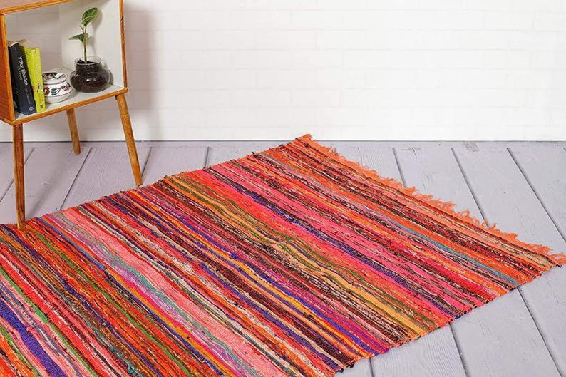 Indian Floor Rug Yoga Mat Floor Chindi Rug Hand Braided Bohemian Colorful Chindi Area Rug Home Decor Rugs Cotton Area Rugs Reversible Rug