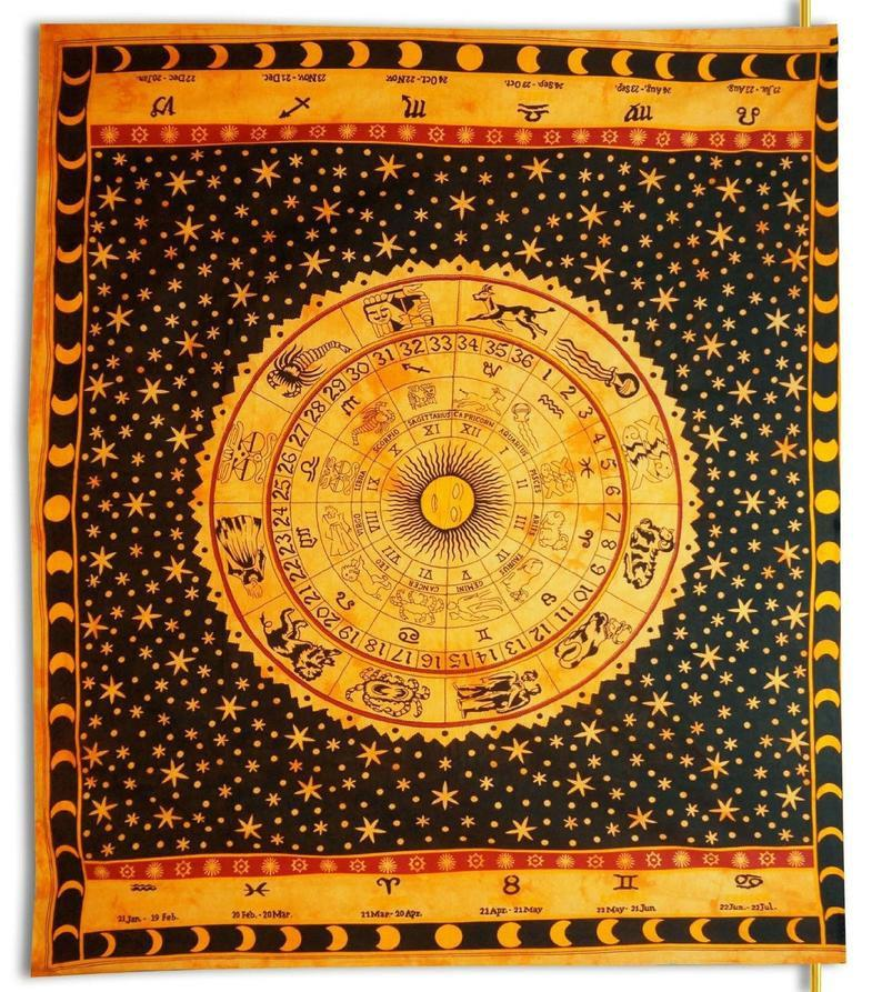 Wall Tapestry Astrology Zodiac Tapestry Wall Hanging Mandala Tapestry Indian Cotton Bedspread Picnic Bedsheet Blanket Wall Hippie Tapestry