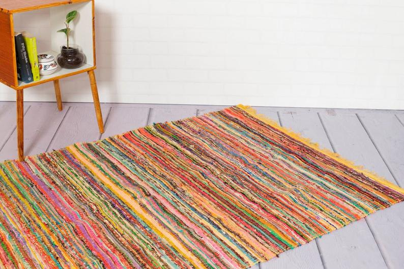 Hand Braided Bohemian Colorful Chindi Area Rug Home Decor Rugs Cotton Area Rugs Rectangle Rug Rag Indian Floor Rug Yoga Mat Floor Chindi Rug