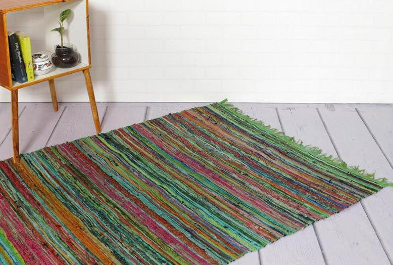 Colorful small area rug, mustard chindi rug, yoga met rug, woven bath mat, reversible Rug, Indian Chindi Rug Area Rug Hand Woven Chindi Rug