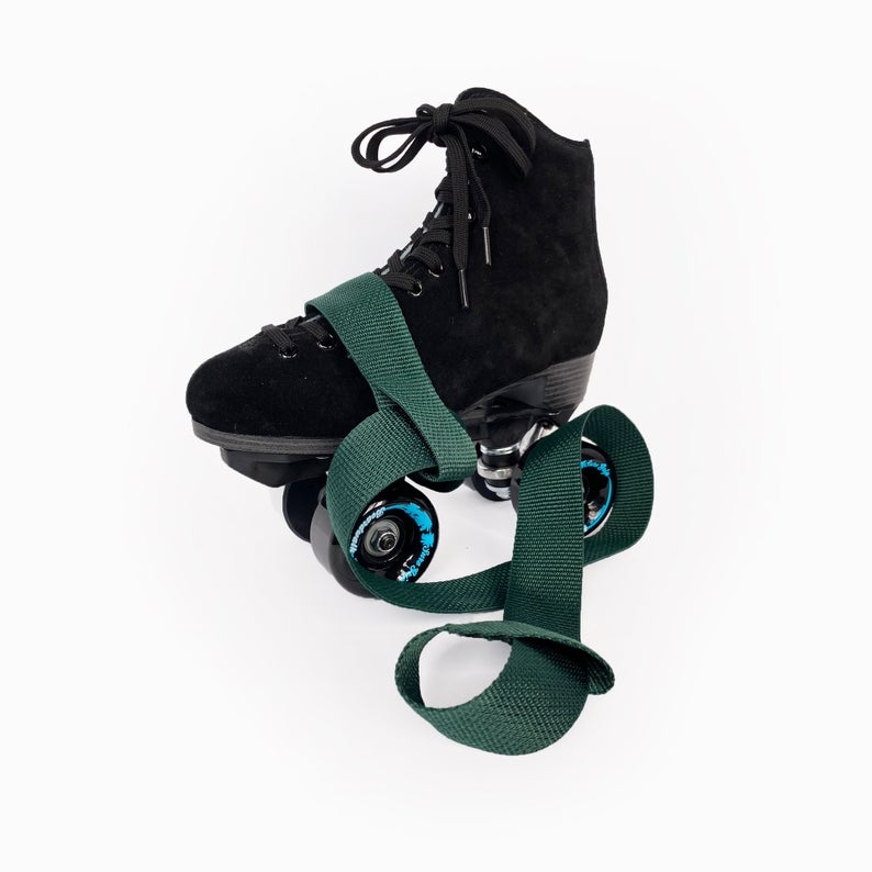Dark Green Roller Skate Leash | Rollerskating & Yoga Mat Strap | Forest Green Adjustable Carrying Belt | ESPILANE Rollerskating Gear