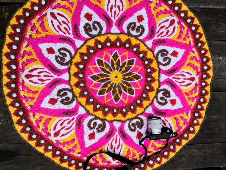 "Multicolored Mandala Rug Crocheted 38 ""in diameter Picnic rug."