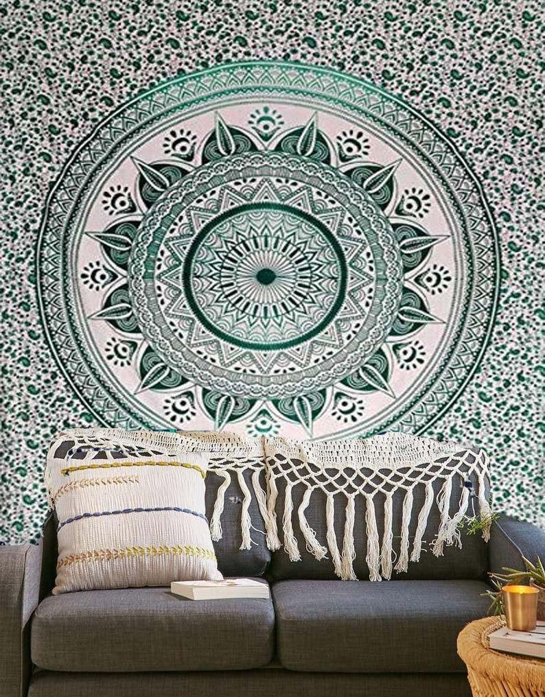 Wall Tapestry Multicolor Tapestry Wall Hanging Mandala Tapestries Indian Cotton Bedspread Picnic Bed sheet Blanket Wall Art Hippie Tapestry