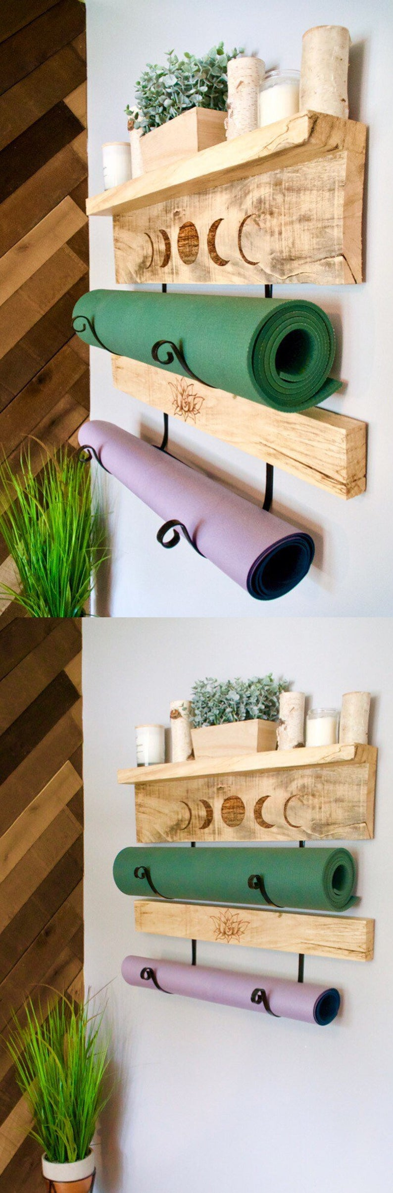 Yoga mat holder shelves