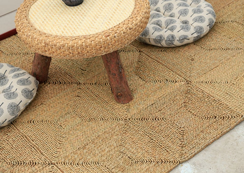 Custom brown seagrass rug straw floor mats handmade bedroom area mat tatami mat carpet picnic rug custom yoga mat meditation floor mats